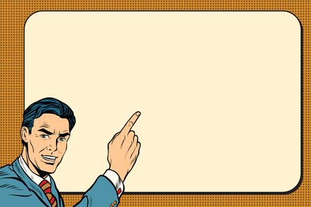 promoter: Businessman showing on Billboard background, pop art retro vector illustration Illustration