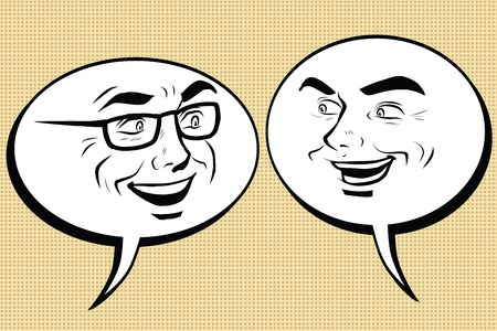 two men talking: Two happy men talking. Comic bubble smiley face, pop art retro vector illustration. Human emotions