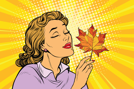nature woman: Girl and autumn, a woman with red maple leaf. pop art retro vector illustration. The seasons of nature