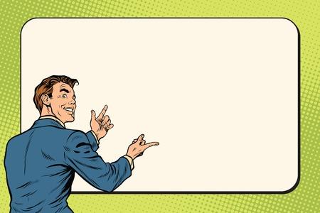 El hombre de negocios que muestra la cartelera en el fondo, el arte pop retro ilustración vectorial Ilustración de vector