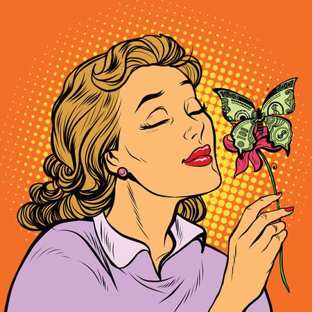 女性と蝶お金、pop アート レトロなベクター イラストです。ビジネスと金融。偉大な慈善団体