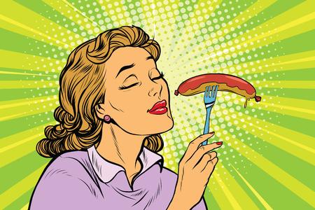 Jonge vrouw met smakelijke worst, pop art retro vector illustratie. Straat fast food lunch