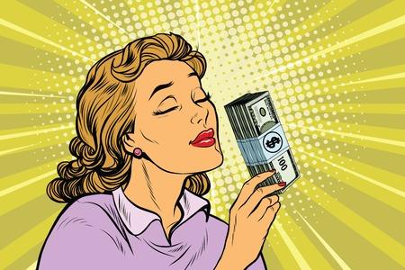 Businesswoman zapachu zapachu pieniędzy, pop sztuki retro ilustracji wektorowych. Finanse i biznes
