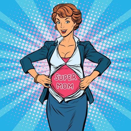girl shirt: super mom pregnant beautiful woman, pop art retro vector illustration. Maternity image of a superhero