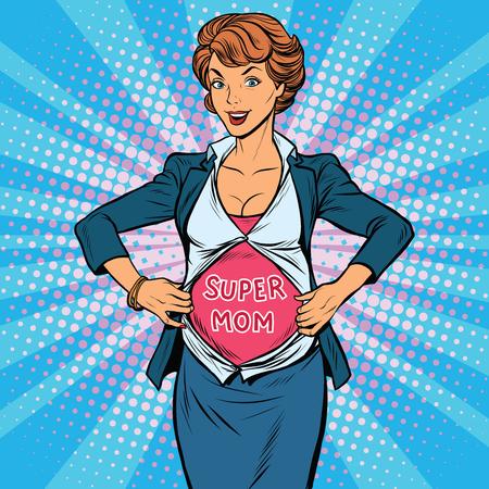 Super mom schwangere schöne Frau, Pop-Art Retro-Vektor-Illustration. Schwangerschafts-Bild eines Superhelden Standard-Bild - 63634871