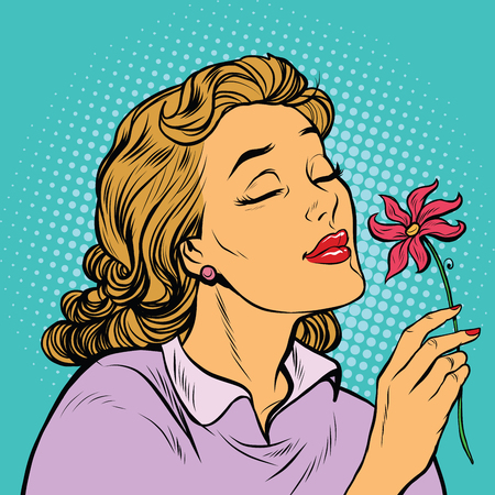 Beautiful woman inhaling fragrance of a flower, pop art retro vector illustration. The seasons of nature, romance and love Vettoriali