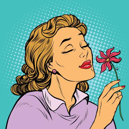 olfato: Hermosa mujer inhalando la fragancia de una flor, arte pop retro ilustración vectorial. Las estaciones de la naturaleza, el romance y el amor