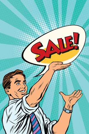 Pop art retro man announcing sales, vector illustration. the businessman, seller Illustration