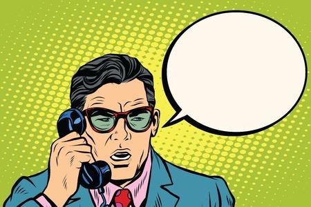 Überraschen. Unternehmer sprechen über das Telefon, Pop-Art Retro-Vektor-Illustration