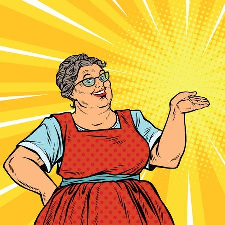 Blije vrouw oma promotor, pop art retro vector illustratie. Oude lieve vrouw adverteert