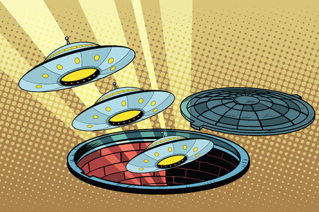 UFOs fly out of the sewers, pop art retro vector illustration Ilustracja