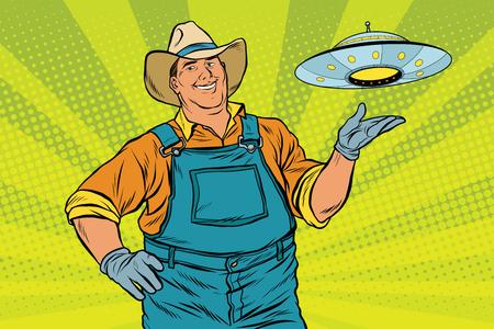 platillo volador: agricultor rural y UFO, ilustración vectorial de arte retro pop. leyendas y mitos