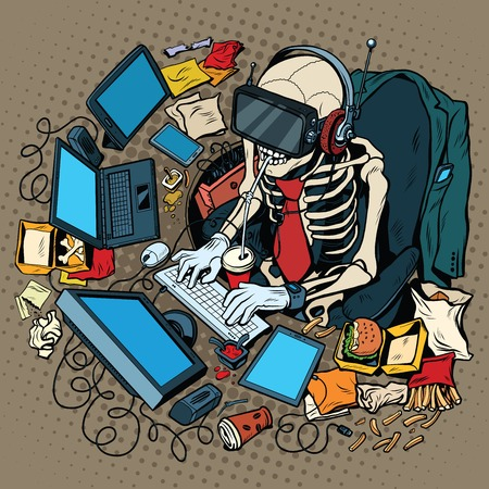 The skeleton programmer in virtual reality, pop art retro vector illustration. Work on the computer and games. Humorous concept of engagement in new technologies 일러스트