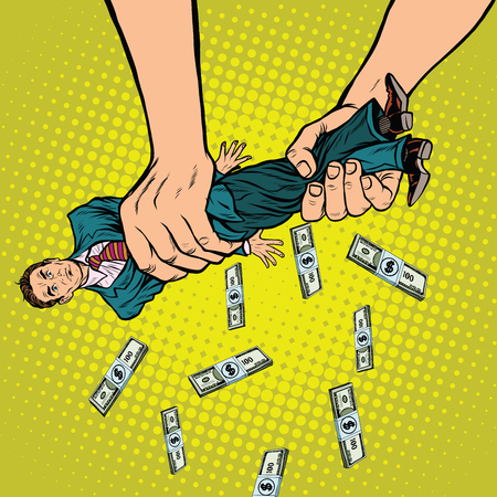 Female hands squeeze men money, pop art retro vector illustration. Financial exploitation of the business concept Çizim