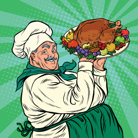 Chef with a dish roast Turkey, pop art retro vector illustration. Christmas or thanksgiving holiday dinner