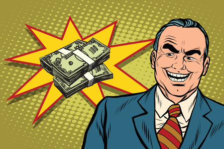 prankster: Boss businessman laughs, have a lot of money, pop art retro vector illustration