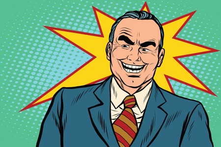 Evil boss laughs, pop art retro vector illustration