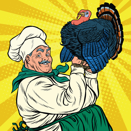 chicken coop: Retro chef with a live Turkey, thanksgiving, pop art vector illustration Illustration