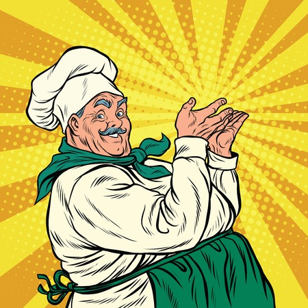 Chef professional pose presenting, pop art retro vector illustration. Smiling cooking Illustration