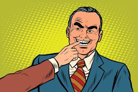 prankster: Boss bites the finger, pop art retro vector illustration