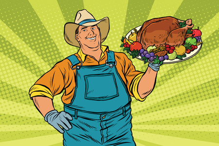 agrarian: Rural farmer and roast Turkey, pop art retro vector illustration. Family dinner for Christmas or Thanksgiving Illustration