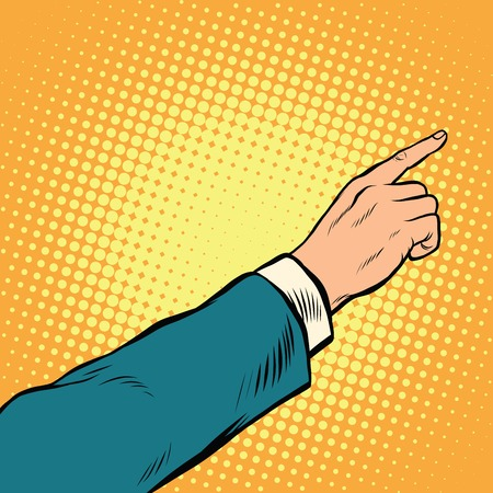 right hand: Retro hand pointing to the right up, pop art vector illustration Illustration