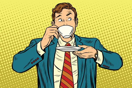 Businessman drinking Cup of coffee looking sideways, pop art retro vector illustration Illustration