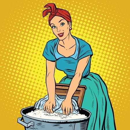 Retro vrouw wasvrouw aan kleding, pop art vector illustratie wassen. Vuile en schone. Huiswerk Vector Illustratie