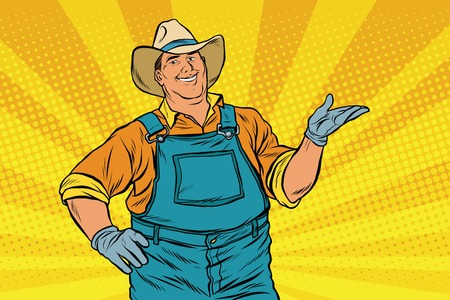 promoter: The American farmer in a cowboy hat, pop art retro vector illustration. A man in the pose of a promoter Illustration