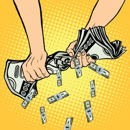 laundering: Financial profit, hands squeeze out of the money dollars, pop art retro vector illustration