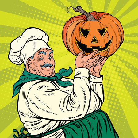 Retro cook with pumpkin Halloween, pop art vector illustration
