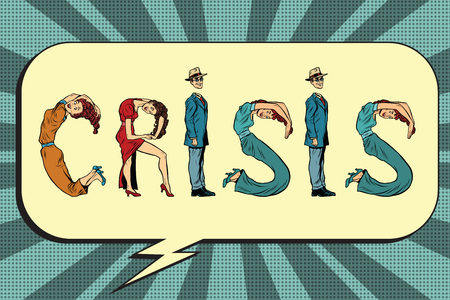 business letters: Crisis, letters business people, pop art retro vector illustration. businessman font Illustration