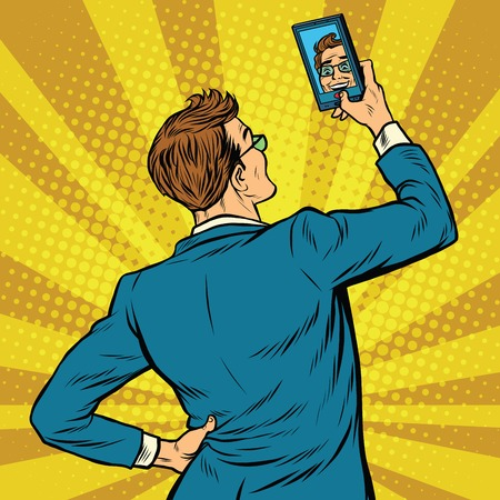 Retro man selfie on smartphone pop art retro vector illustration Ilustração