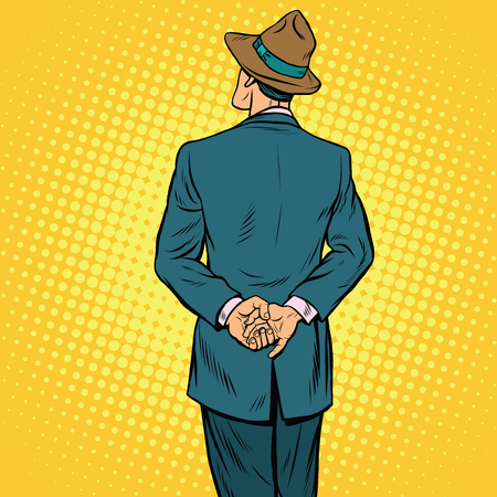 listener: Retro male back, pop art vector illustration