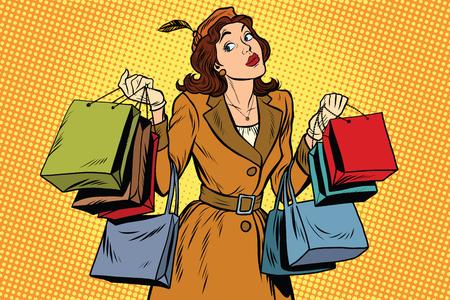 Hermosa mujer retro a la venta, ilustración vectorial de arte retro pop. las compras de temporada de vacaciones Ilustración de vector