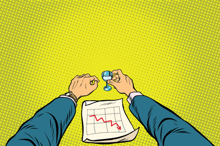stockmarket chart: Business is bad, the graph of sales is down, the businessman got drunk, pop art retro vector illustration
