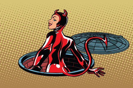 hell: Red devil girl succubus emerges from hell, pop art retro vector illustration. Luke city sewer underground Illustration