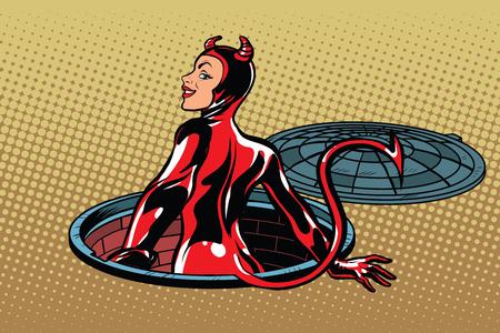 Red devil girl succubus emerges from hell, pop art retro vector illustration. Luke city sewer underground Иллюстрация