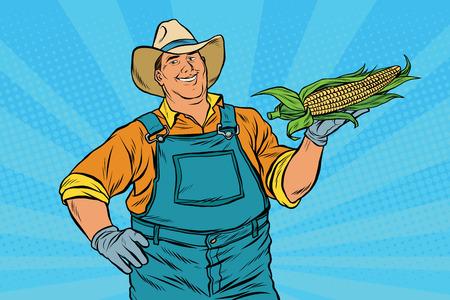 oido: agricultor rural con una mazorca de maíz, ilustración vectorial de arte retro pop. La agricultura y la cosecha
