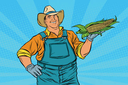 corn fields: Rural farmer with an ear of corn, pop art retro vector illustration. Agriculture and the harvest