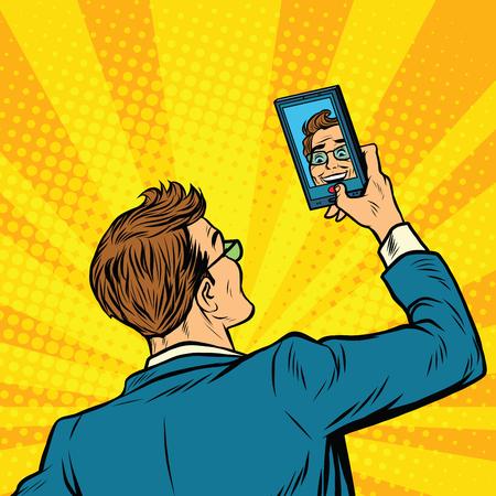 Retro man selfie op smartphone pop art retro vector illustratie