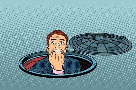 sewer: scared retro man in the manhole of the city sewer, pop art retro vector illustration Illustration