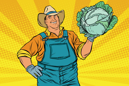 Rural retro farmer and a head of green cabbage, pop art vector illustration