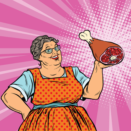 Smiling retro old woman and meat leg, pop art vector illustration