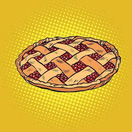 Berry pie, thanksgiving and family celebration, pop art retro vector illustration