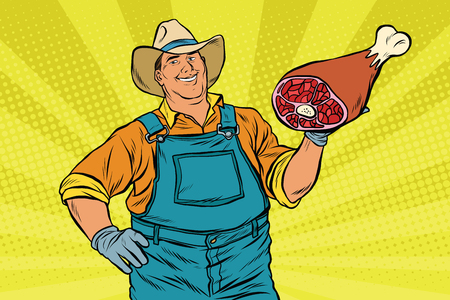 Rural retro farmer and meat leg, pop art retro vector illustration