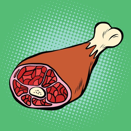 Leg meat, smoked delicacies, pop art retro vector illustration