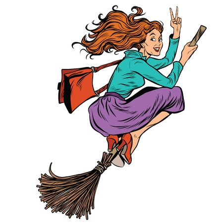 brujas caricatura: Hermosa mujer bruja volando en una escoba, el arte pop retro ilustración vectorial. personaje de Halloween. las personas fondo blanco aislado