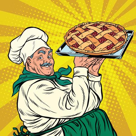 Vrolijke retro koek bessen taart, pop art vector illustratie