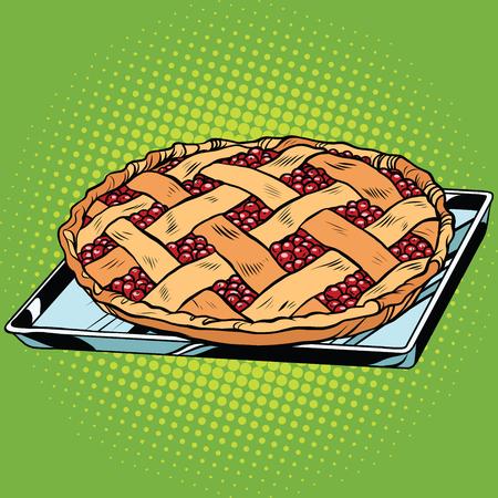 Berry pie on iron pallet, pop art retro vector illustration